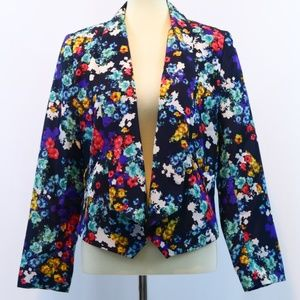 Ellen Tracy Floral Open Front Blazer